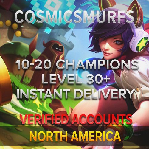 League of Legends Account LOL | Unranked | NA 10-20 Champions | READ