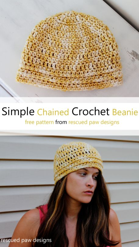 Simple Chained Crochet Beanie Hat Pattern Tutorial:: Rescued Paw Designs
