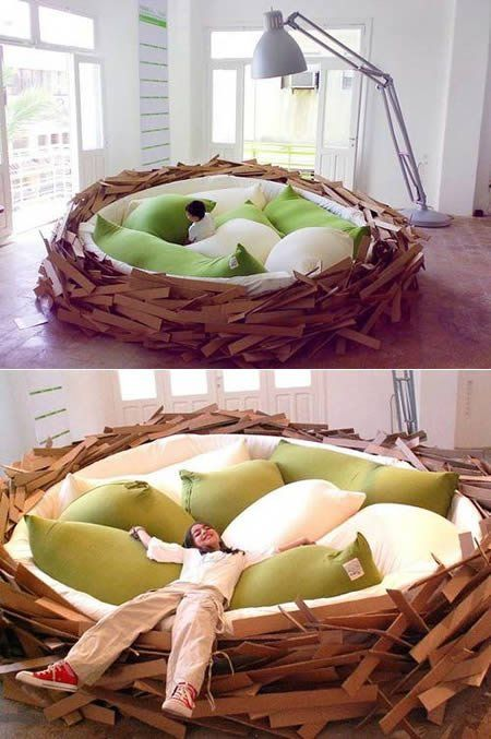 Nest bed. This looks fun.Ideas, Couch, Nests Beds, Dreams, Birds Nests, Green Gardens, Big Birds, Kids, Pillows