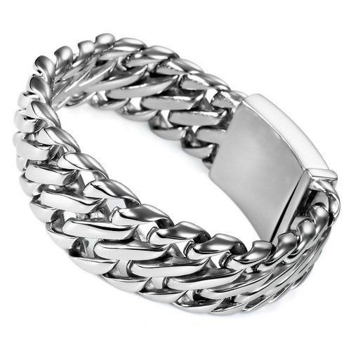 Justeel Jewelry Mens Silver 316l Stainless Steel Bracelet Links Hand Chain Justeel Jewelry. $69.99. Size HxWxL: x1.0x8.9inch; (x26x225mm). 100% Nickel free. Shipping takes 2-3 weeks from China (USPS Tracking). Excellent Luster and Unimpeachable Rust and Corruption Resistance