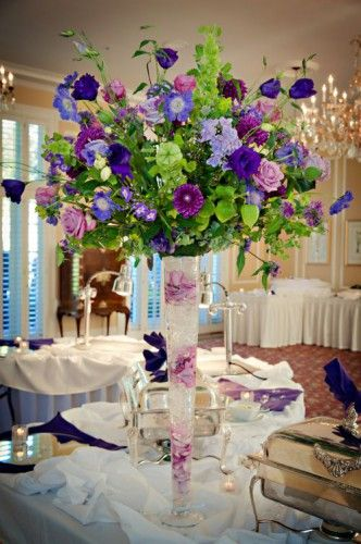 Stunning purple, blue and green flower arrangement.