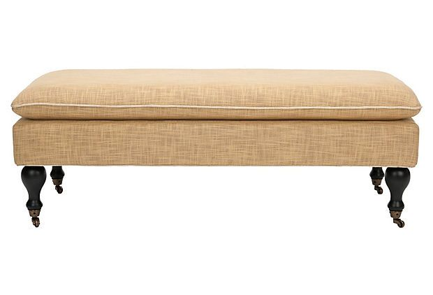 Nikolette Pillowtop Bench, Golden Barley on OneKingsLane.com