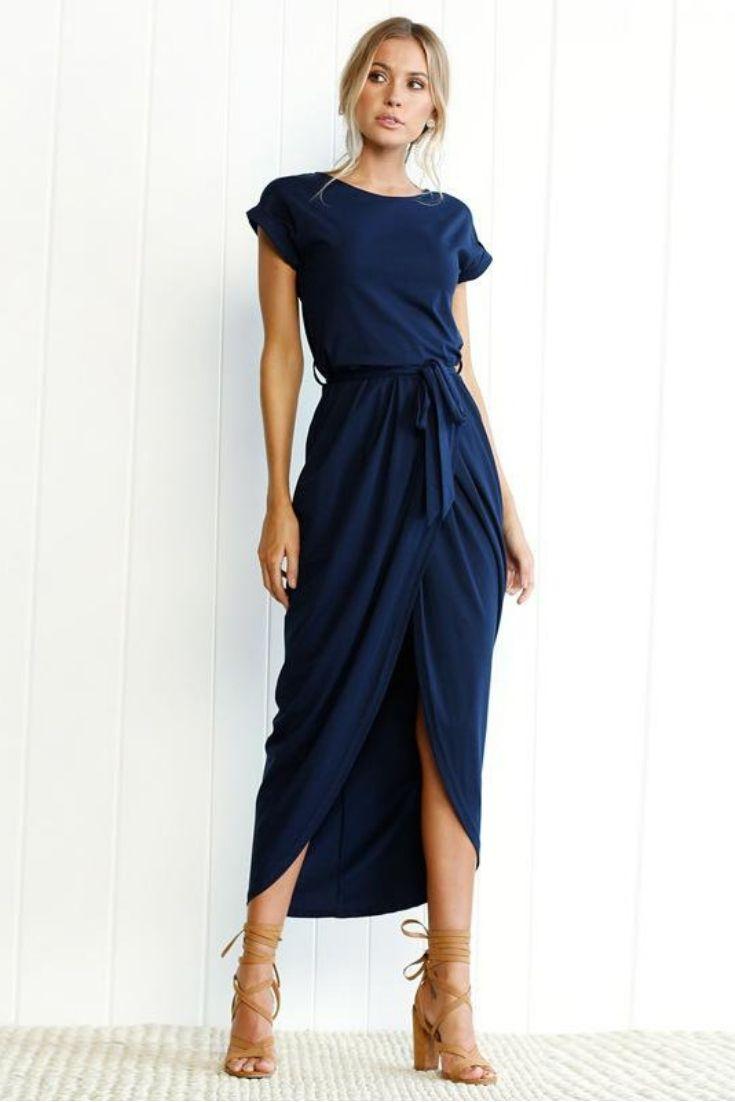 8fe2551dd1 Women s Sexy Split O-neck Short Sleeve Beach Party Maxi Dress in 2019
