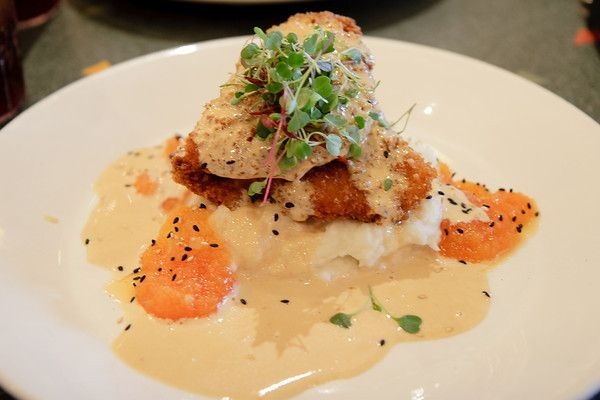 Macadamia Nut Crusted Chicken with Sho Yu Cream Sauce