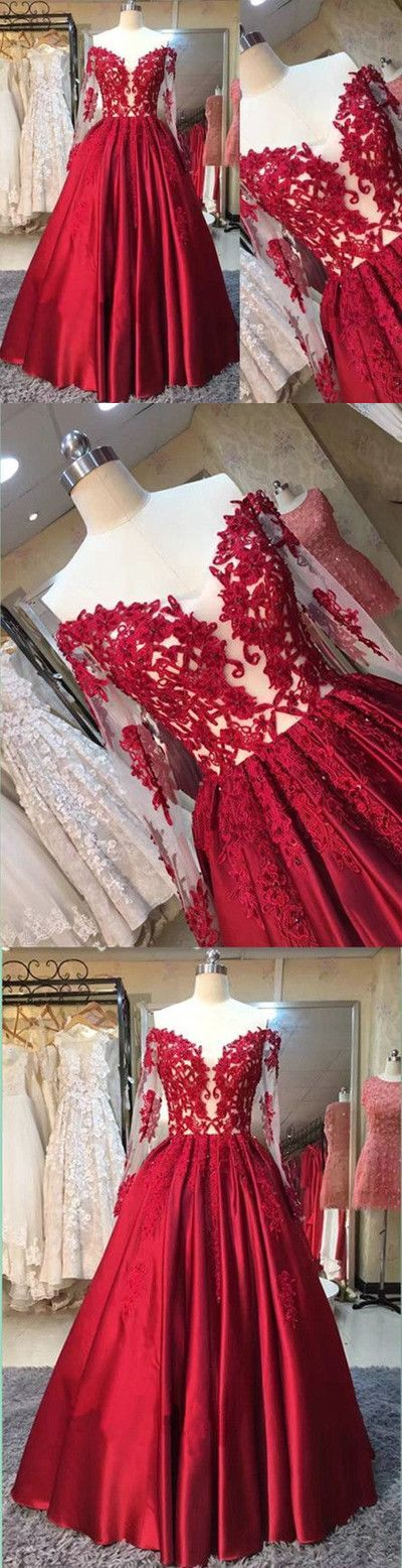 Long-Sleeves Off-the-Shoulder Red Lace-Appliques Puffy Prom Dresses,210