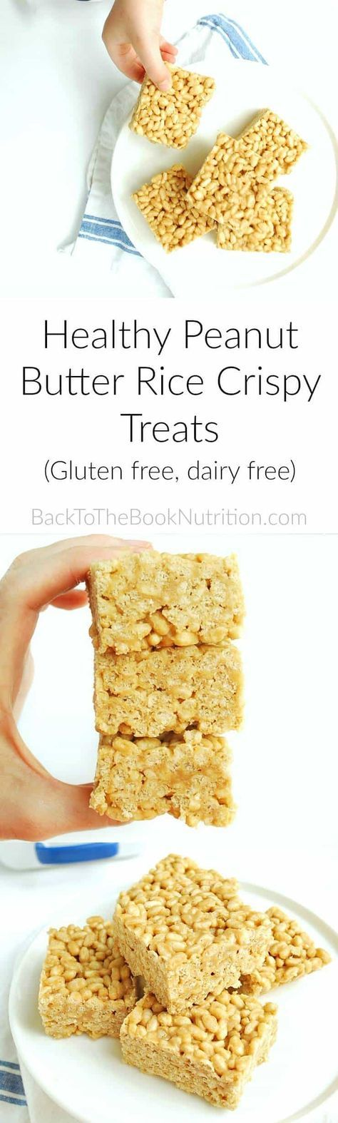 Healthy Peanut Butter Rice Crispy Treats. Gluten free and dairy free with peanut free option | Back To The Book Nutrition
