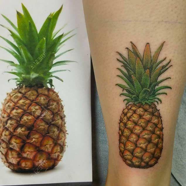 Hyperrealism Pineapple Tattoo