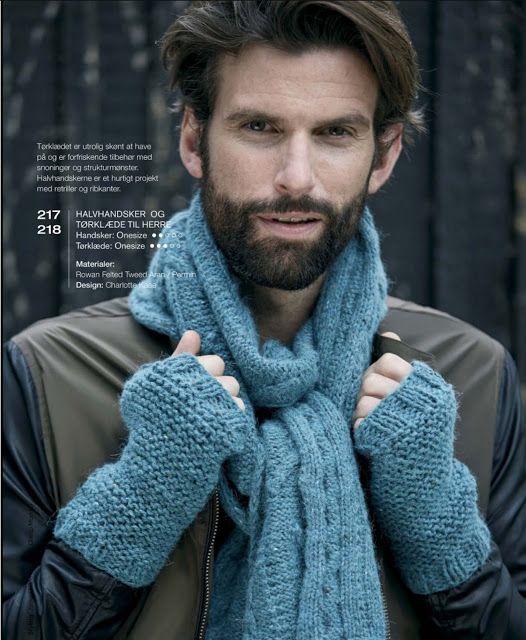 Halvhandsker og tørklæde til herre, Charlotte Kaae design for Kreativstrik nr 4 2015 www.bykaae.dk