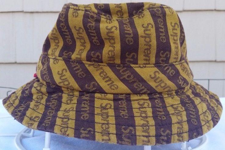 Supreme Jacquard logo brown/gold crusher bucket hat sz S/M winter 2014  #Supreme #Bucket