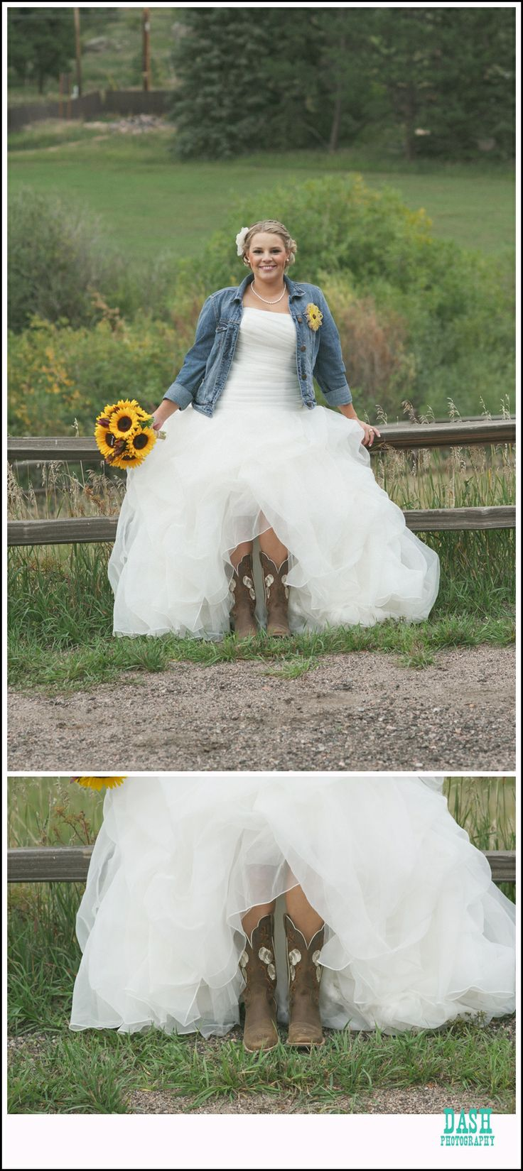 red barn evergreen wedding; meadows at marsh dale; country bride; blue jean jacket bride