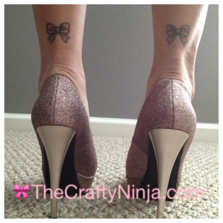 Pink Glitter Stiletto Shoes and Bow Tattoo.