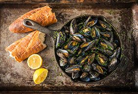 Grilled Mussels with Lemon Butter