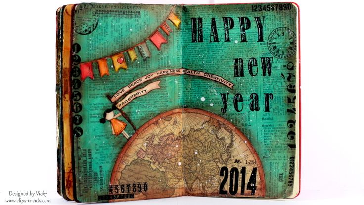 Art journal page: Happy New Year!  How-to video and supply list http://youtu.be/OxIvoqUE1kk