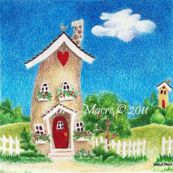 Original Colored Pencil Illustration of Whimsical by HeartHomes
