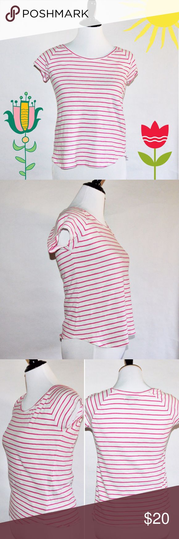 "Pink & White Stripes Short Sleeve Top Pink & White Stripes Short Sleeve Top 100% Cotton  Super cute and simple spring or summer top. Looks good with jeans and can be dressed up. EUC. No rips or stains.   Measurements Petite Small-Chest:17"" across / 34"" around, Length:22""  🔆Bundle 2 items = 10% OFF 🔆Bundle 3 or more = MAKE OFFER ❌ No Trades KNIT by Hampshire Studio Tops Tees - Short Sleeve"