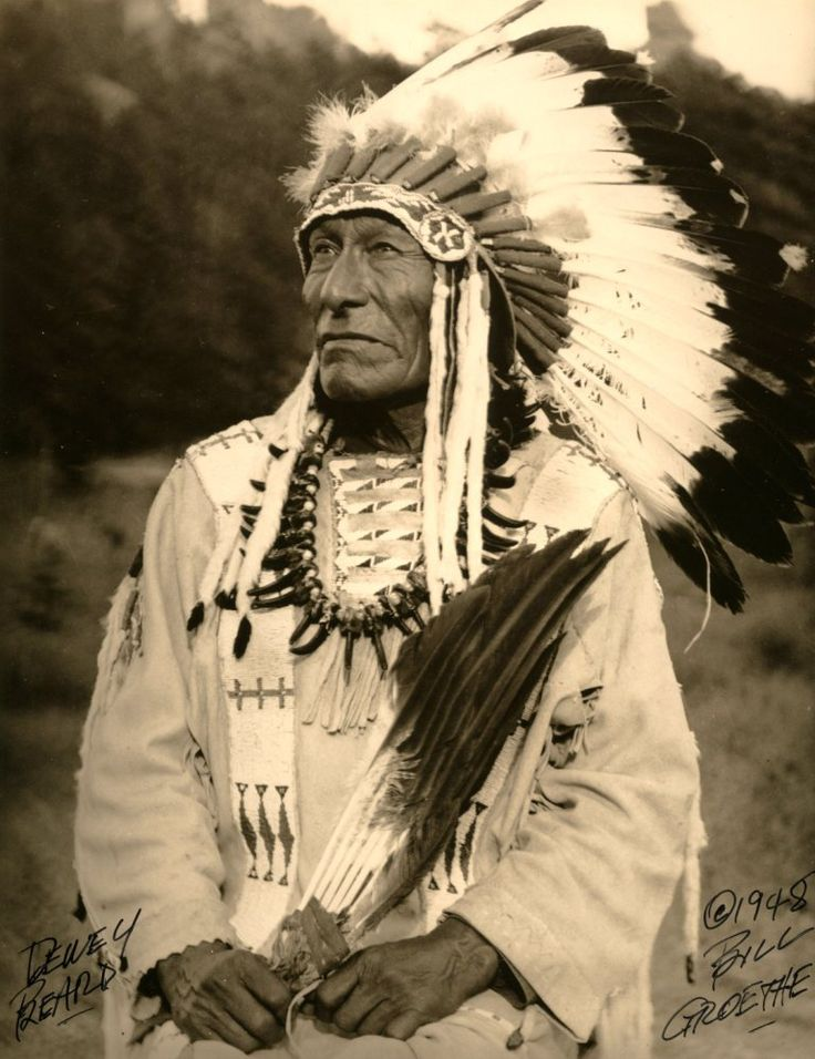 Chief Dewey Beard or Wasu Maza ('Iron Hail', 1858-1955) was Minneconjou Lakota, fought in Battle of Little Big Horn as a teenager. After Custer's defeat, Wasu Maza followed Sitting Bull into exile in Canada, then back to South Dakota, where he lived on the Cheyenne River Indian Reservation. When he died in 1955, at age of 96, Dewey Beard was last known Lakota survivor of Battle of Little Big Horn and last known survivor of Wounded Knee Massacre.