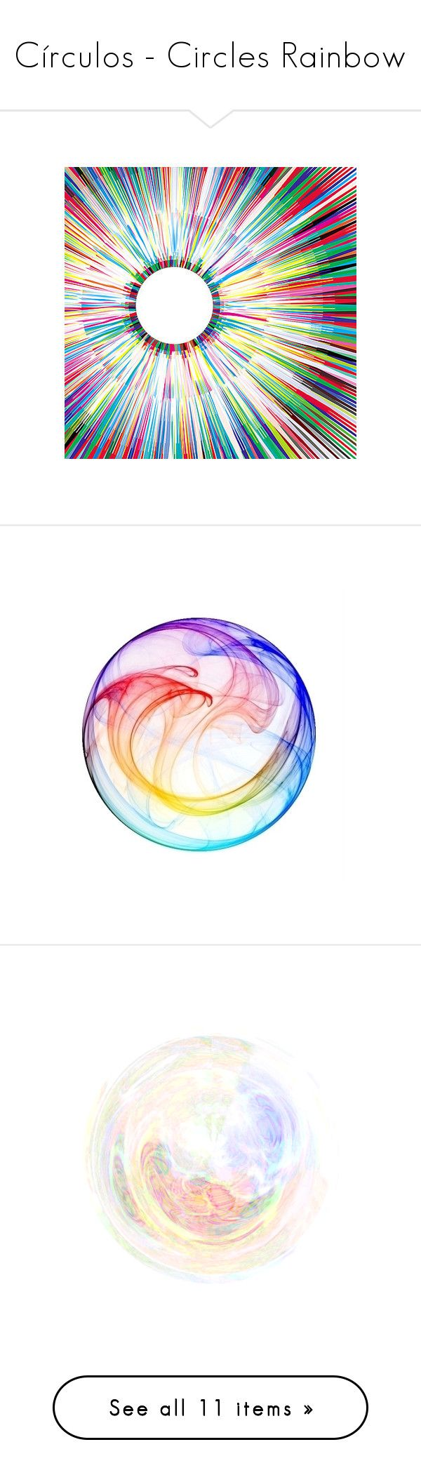 """""""Círculos - Circles Rainbow"""" by rafakeka ❤ liked on Polyvore featuring backgrounds, rainbow, textures, art, colorful, embellishment, detail, circles, effects and extras"""