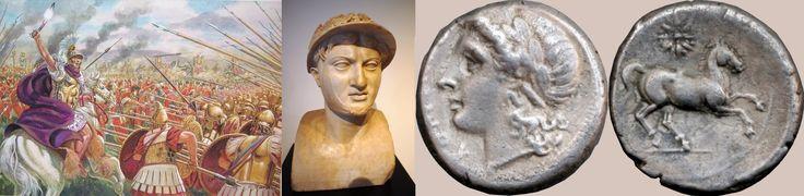 Battle of Heraclea, 280 BC. Heraclea, Basilicata, southern Italy. Roman commander; Publius Valerius Laevinus. Epirus, Magna Graecia commander; Pyrrhus (pictured). Pyrrhic Victory.