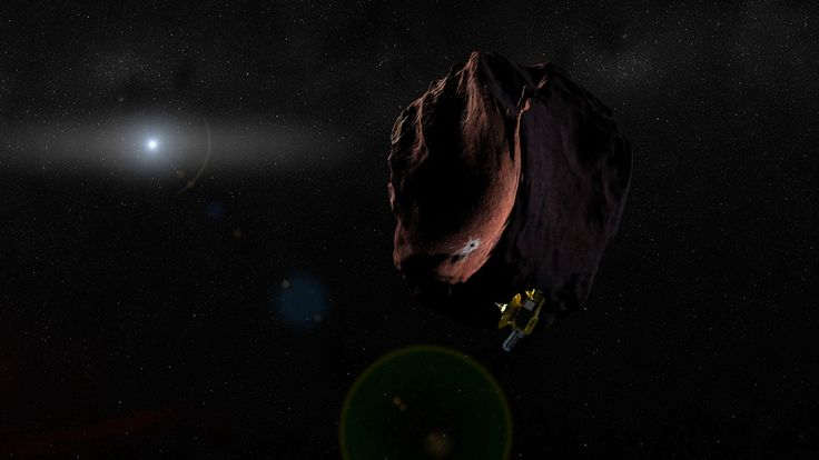 This artist's illustration depicts NASA's New Horizons probe flying by a small object in the distant Kuiper Belt, beyond Pluto's orbit.