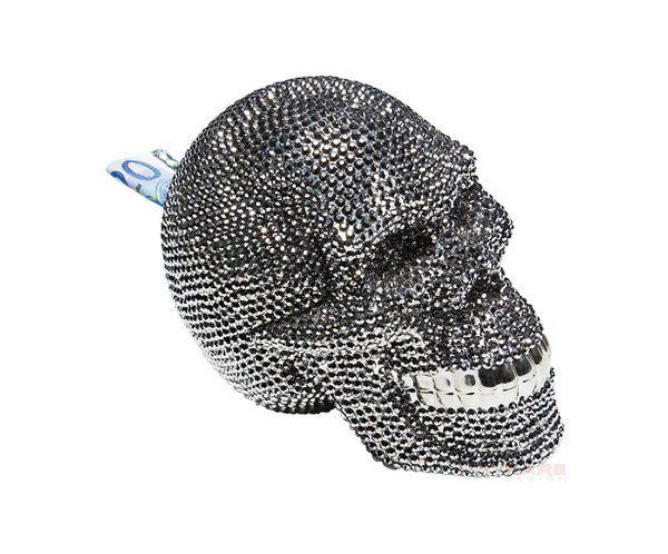 Czaszka Srebrna Skarbonka z Kryształkami - Money Bank Skull Crystal Silver