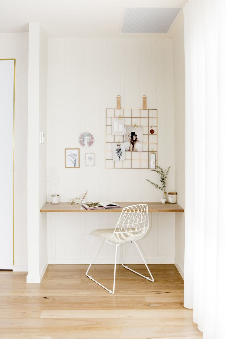 H&G Designs Study Nook VJ Wall Panelling Grid Mood Board Leather Timber Floating Desk Timber Floors Muted Colours Pale Terracotta Clay Minimal Study Area. Leather Strap Grid Mood Board. Office Space. Modern Study Nook. Photog- Rikki Lancaster
