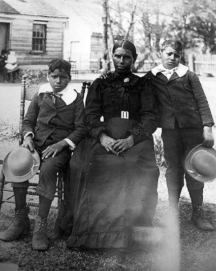 L-R: Powhatan Bradby, Mary Elizabeth Adkins-Bradby, Kermit Bradby - Chickahominy - 1900