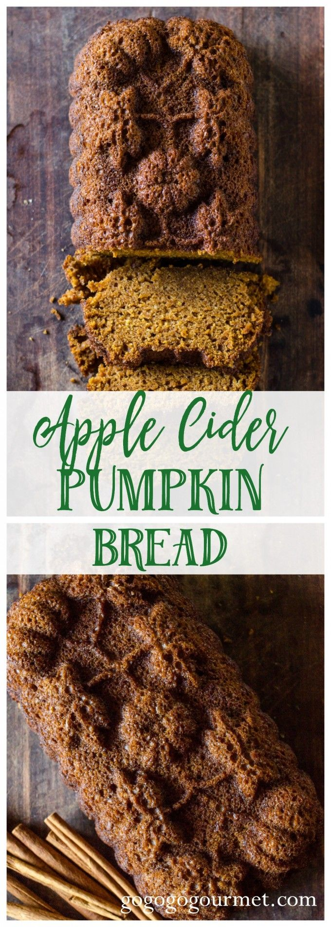 This apple cider pumpkin bread is a fast, easy treat will all the best flavors of fall. One bowl, simple to mix up, and filled with delicious, warm spices. via @gogogogourmet