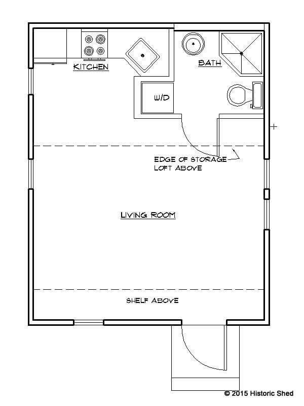 Historic Shed Tiny Cottage Floor Plan 320 sq. ft. 16' X 20'..love this layout