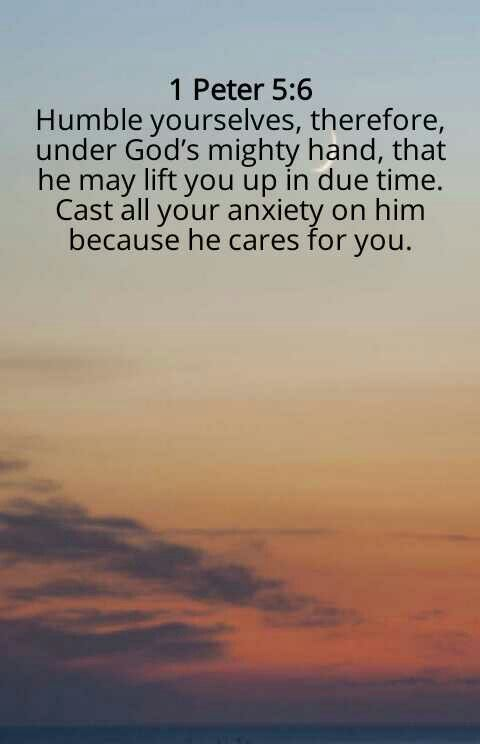 Cast all of your cares to God.  Amen. Mildred Williams