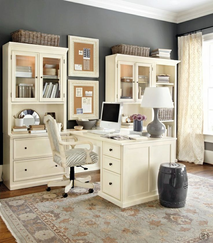gray and cream home office. I like the basket storage and framed pin boards. Keep files white