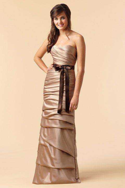 Sweetheart sheath / column with ruffle embellishment taffeta bridesmaid dress