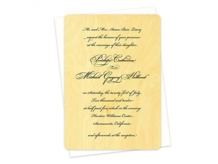 This Line Of Script Invitations Is Extremely Elegant And Printed On  Sustainable Wood · Wood Wedding InvitationsScriptsEco Friendly