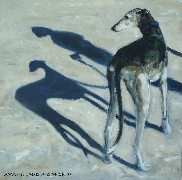 Galgo (Spanish Greyhound) Acrylic on canvas, 80 x 80 cm