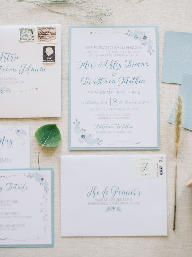 addressing wedding invitations married woman doctor%0A Traditional BlueHued Wedding in California