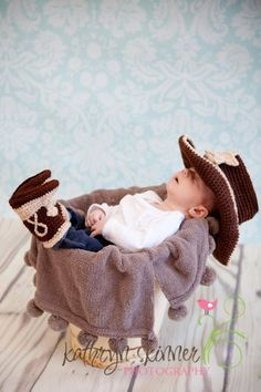 Crochet cowboy hat boots and vest set you pick the colors and size