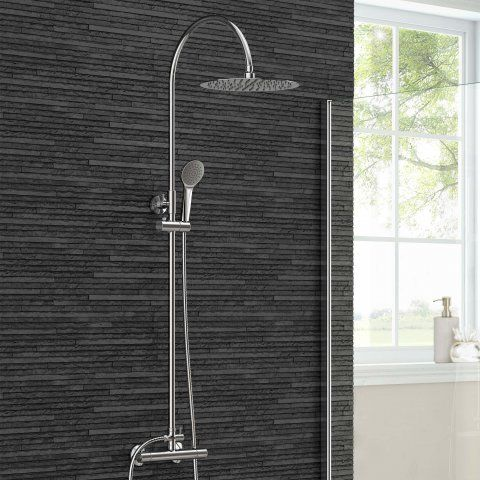 300mm Round Head & Hand Held, Curved Shower Arm - Cool to Touch [PT-SS8005] - £125.99 : Platinum Taps & Bathrooms