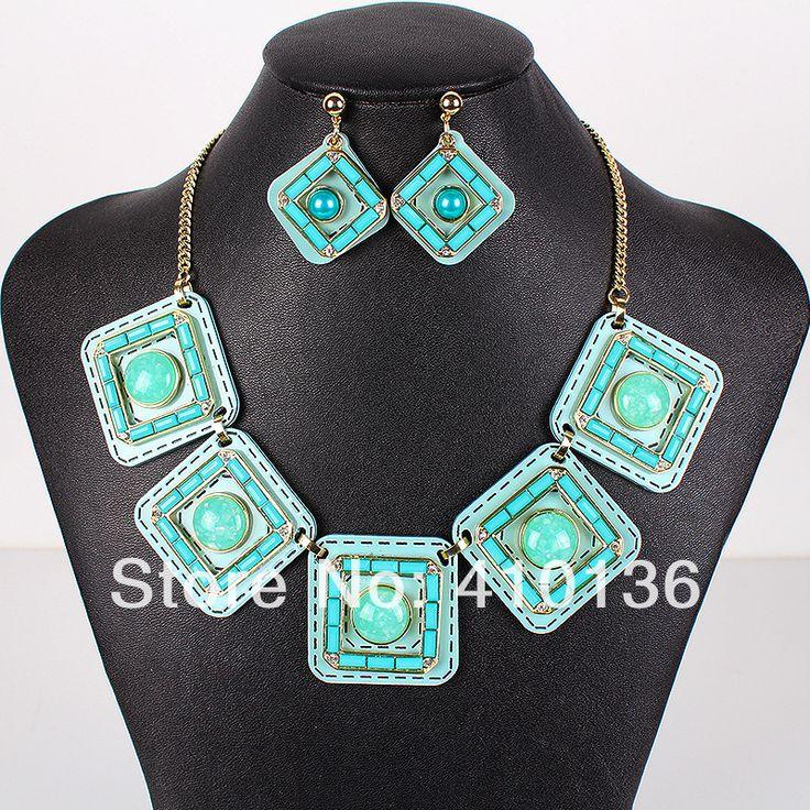 Ms17661 мода ювелирных изделий комплект позолоченные голубое ожерелье весенних цветов африки ожерелье свадебные украшения высокое качество ну вечеринку подарки