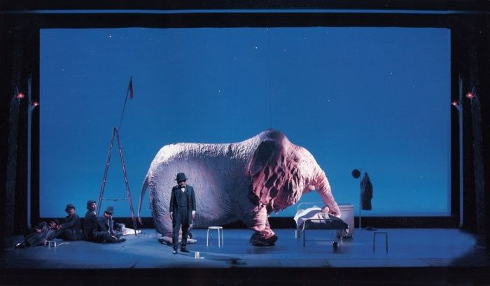 Scenography he Pink Elephant and Five Gentlemen is a Beckettian slice of absurdism that was staged at Haiyuza theatre in Tokyo in 1994. The set designed by Kazue Hatano featured a surreal, 1.95m tall elephant with broken-down legs