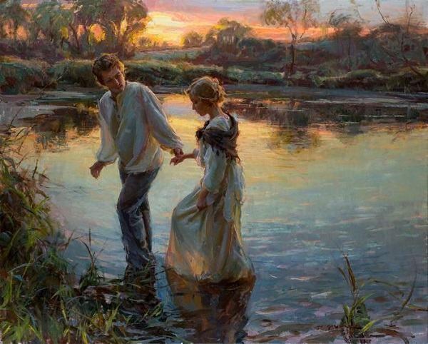 pinturas românticas - Uma viagem juntos.