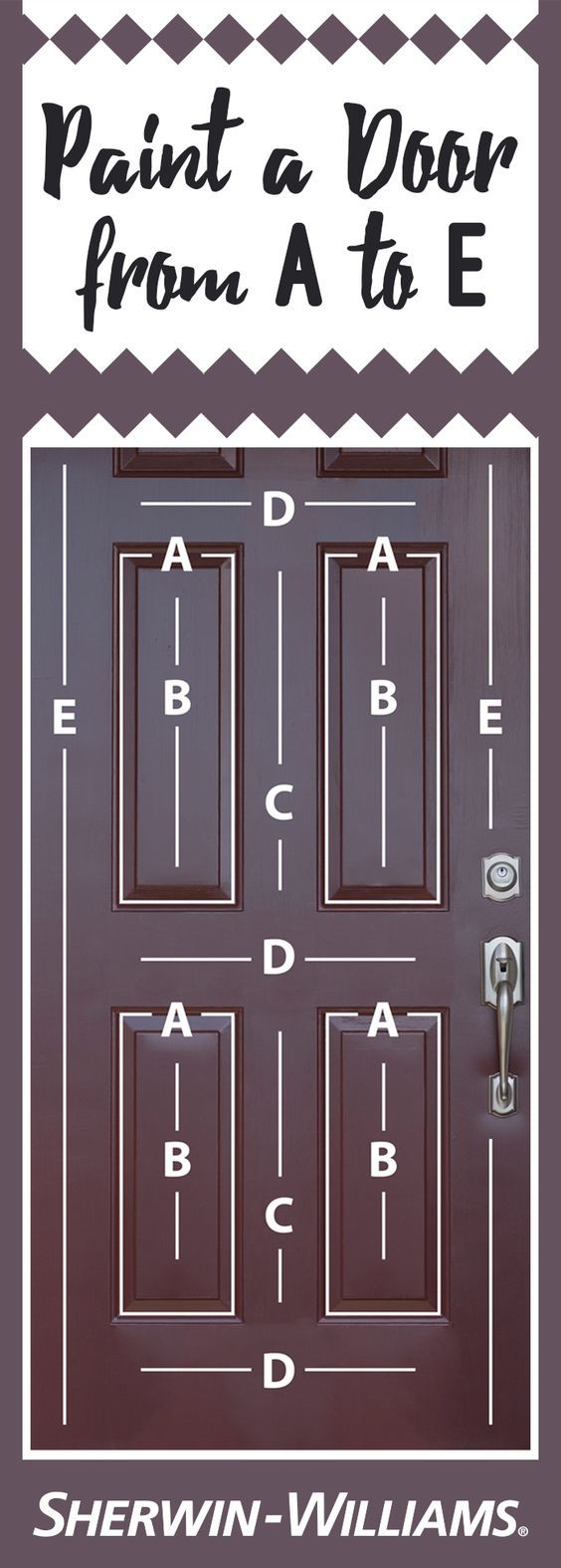 Looking for the best way to paint a beveled door? We've mapped it out for you! Start with Area A, using an angled brush to paint all recessed areas. To prevent brush marks on the larger, smooth areas of your door (B-E), line the recessed areas with painter's tape. Next, move on to Area B, painting each subsequent area in alphabetical order. Use a brush or roller, making sure with each stroke that the fresh paint you are overlapping is still wet. This will help to avoid paint streaks. And…