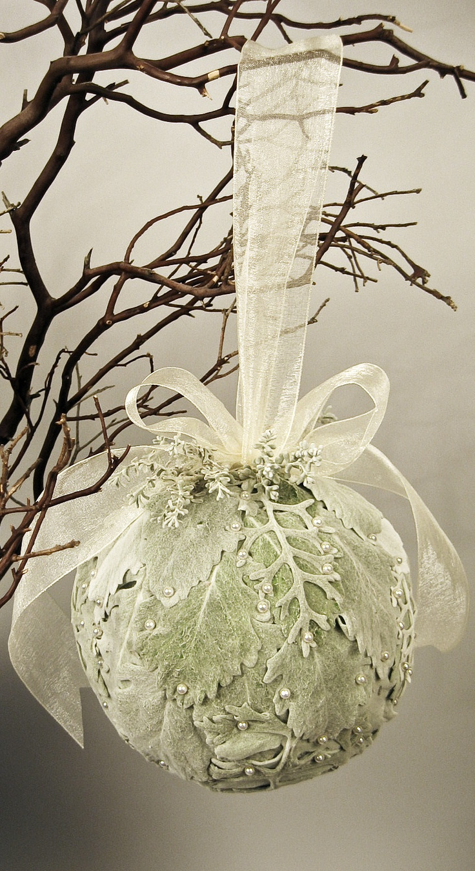 winter pomander with draped dusty