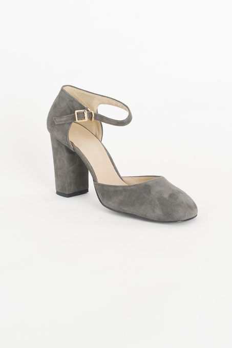 Calf Leather Suede Mary Jane Shoes, Grey, 100% Leather