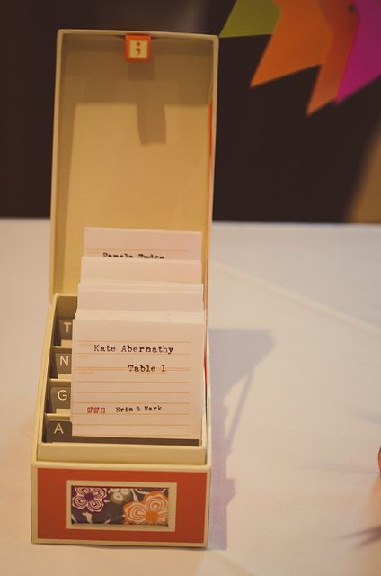 "Offbeat Bride How to pull off some awesome decor for your literary wedding | Aug 14th, 2013 | http://offbeatbride.com/2013/08/literary-wedding-decor#comment-227546 | ""The table seating cards were arranged like library cards."""
