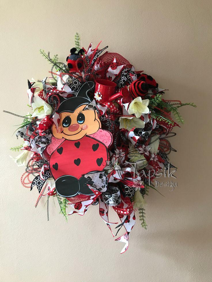 Ladybug Wreath, Deco Mesh Spring, Summer Wreath, All Season Wreath, Ladybug Front Door Wreath, Ladybug Decor. Wooden Ladybug Door Hanger by TapsikDesign on Etsy