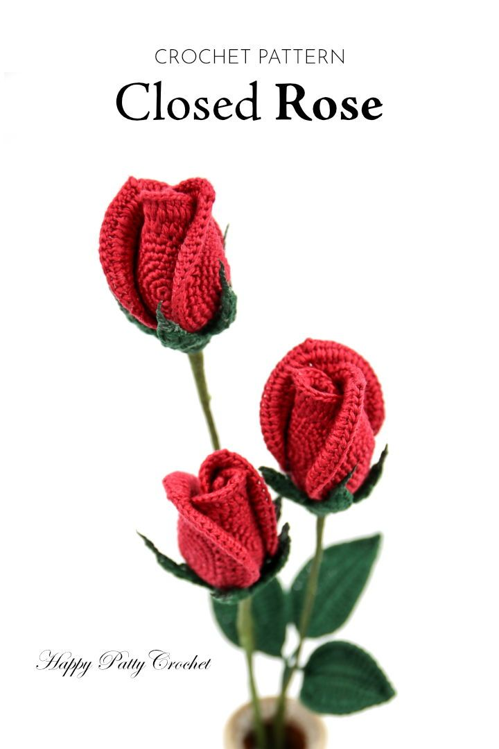 Crochet Flower Pattern - Crochet Closed Rose Pattern - Crochet Rose ...