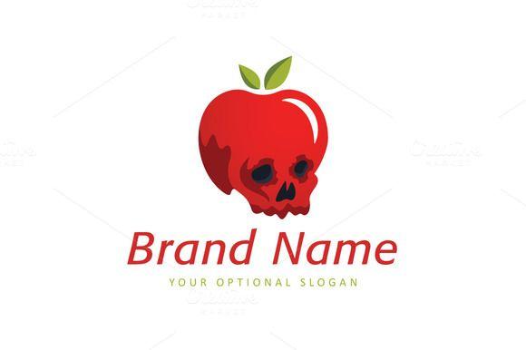 For sale. Only $29 - creative, leaf, food, apple, fruit, meal, juicy, head, old, skull, spirit, bone, death, dead, skeleton, toxic, poison, rotten, putrid, poisoned, evil, red, eat, logo, design, template,