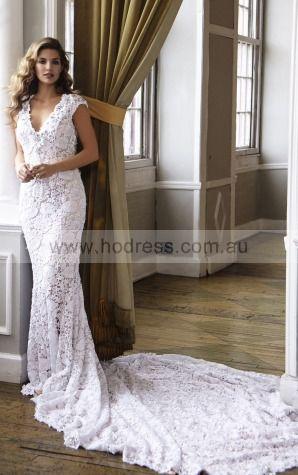 Sheath V-neck Empire Cap Sleeves Floor-length Wedding Dresses wbs0218--Hodress