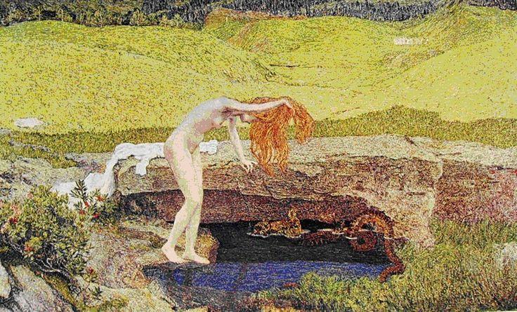 """""""La vanità"""" (o """"La fonte del male"""" o Venere allo specchio""""). Giovanni Segantini, olio su tela, 1887. Fa parte di una collezione privata a Milano."""