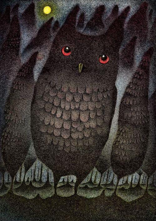 Owl by Hiromi Nishizaka #bird #painting