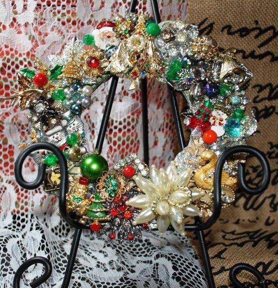 Kimberly O Art http://www.etsy.com/shop/KimberlyOArt Vintage Style Rhinestone and Brooch Holiday Christmas Wreath  ~ Repurpose Recycle Reuse